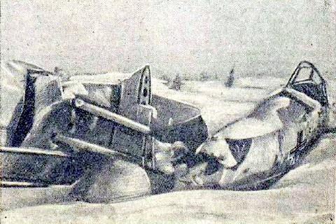 Обломки самолёта сбитого Хлобыстовым.
