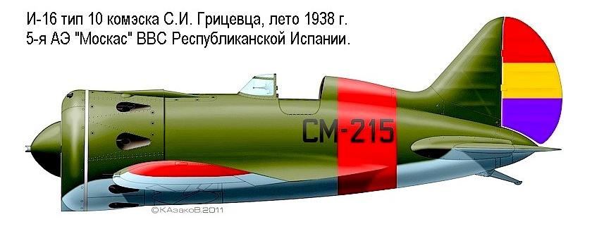 И-16 тип 10 С.И.Грицевца, 1938 г.