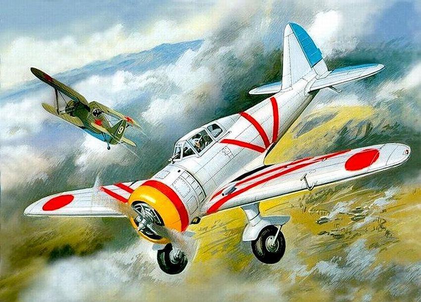Советские И-153 ведут бой с японскими Ki-27.